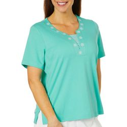 Cathy Daniels Petite Embellished Neckline Stripe Panel Top