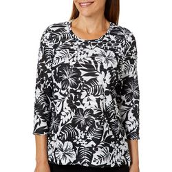 Cathy Daniels Petite Textured Tropical Floral Print Top