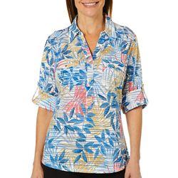 Cathy Daniels Petite Sheer Stripe Tropical Print Top