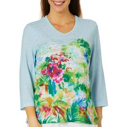 Cathy Daniels Petite Tropical Embellished V-Neck Top