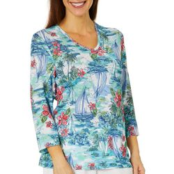 Cathy Daniels Petite Tropical Sailboat Print Jeweled Top