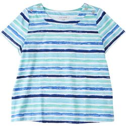 Emily Daniels Petite Striped Scoop Neck Top