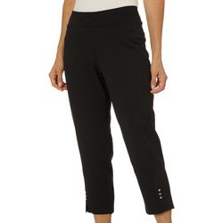Cathy Daniels Petite Solid Pull On Bling Ankle Pants