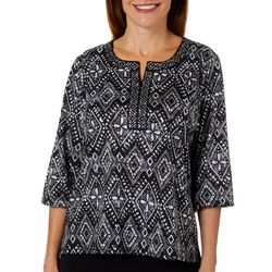 Cathy Daniels Petite Diamond Print Jewel Neck Top