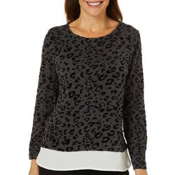 Cathy Daniels Petite Leopard Print Faux Layer Top