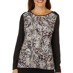 Cathy Daniels Petite Leopard Embellished Long Sleeve Top