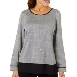Cathy Daniels Petite Houndstooth Print Faux Layer Top