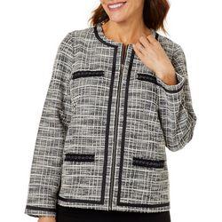 Cathy Daniels Petite Plaid Zippered Long Sleeve Jacket