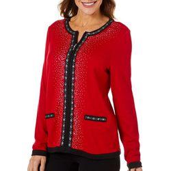 Cathy Daniels Petite Jewel Embellished Long Sleeve Jacket