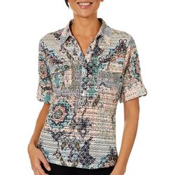 Cathy Daniels Petite Medallion Burnout Roll Tab Top