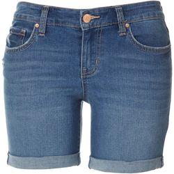 Petite Midi Distressed Denim Shorts