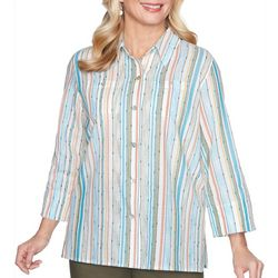 Alfred Dunner Petite Colorado Springs Vertical Stripe Top