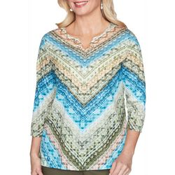 Alfred Dunner Petite Colorado Springs Geo Chevron Top