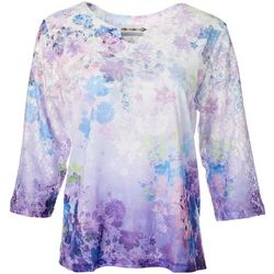 Alfred Dunner Petite Wisteria Lane Floral Lace Yoke Top