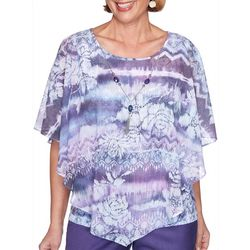 Alfred Dunner Petite Wisteria Lane Floral Poncho Top