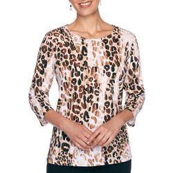 Petite Leopard Print Round Neck Top