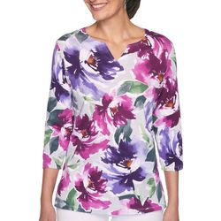 Alfred Dunner Petite Floral Notch Neck Top