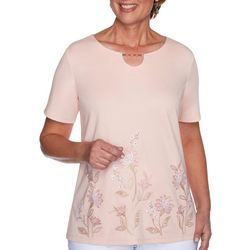 Alfred Dunner Petite Floral Horseshoe Keyhole Top