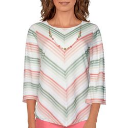 Alfred Dunner Petite Chevron Striped Necklace Top