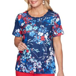 Alfred Dunner Petite Floral Americana Rope Neck Top