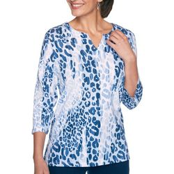 Alfred Dunner Petite Animal Notch Neck Top