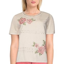 Alfred Dunner Petite Flower Embroidered Short Sleeve Top