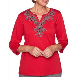 Alfred Dunner Petite Knightsbridge Embroidered Yoke Top
