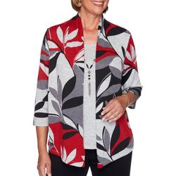 Alfred Dunner Petite Leaf Print Knit Duet Top