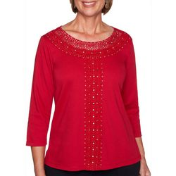 Alfred Dunner Petite Embroidered Neckline Top
