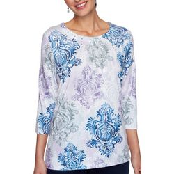 Alfred Dunner Petite Embellished Medallion 3/4 Sleeve Top