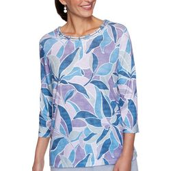Alfred Dunner Petite Stained Glass 3/4 Sleeve Top
