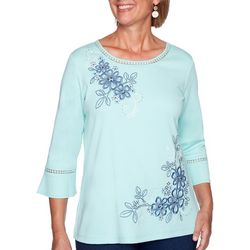 Alfred Dunner Petite Denim Friendly Floral Embroidered Top