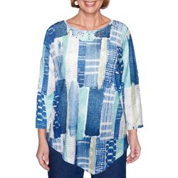 Alfred Dunner Petite Denim Friendly Etched Patchwork Top
