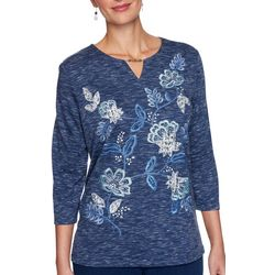 Alfred Dunner Petite Denim Friendly Floral Embroidery Top