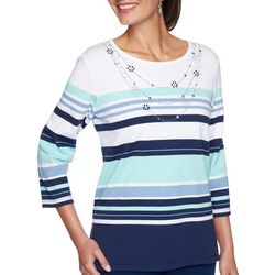 Alfred Dunner Petite Denim Friendly Stripe Beaded Top
