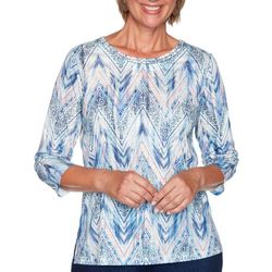 Alfred Dunner Petite Denim Friendly Ikat Zig Zag Top