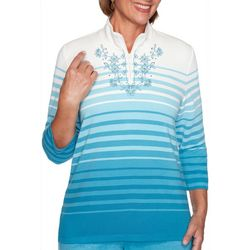 Alfred Dunner Petite Long Weekend Ombre Stripe Pullover Top