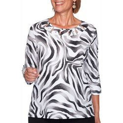 Alfred Dunner Petite Modern Living Animal Shimmer Top