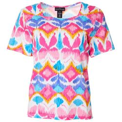 Alfred Dunner Petite Butterfly Print Square Neck Top