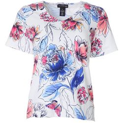 Petite Floral Butterfly V-Neck Top