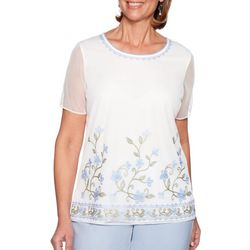 Alfred Dunner Petite Southampton Embroidered Floral Top