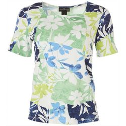 Alfred Dunner Petite Floral Square Neck Top