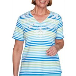 Alfred Dunner Petite Stripe Picot Trimmed Top