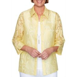 Alfred Dunner Petite Spring Lake Sheer Butterfly Duet Top
