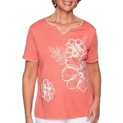 Alfred Dunner Petite Coastal Drive Embroidered Floral Top