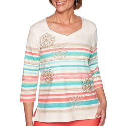 Alfred Dunner Petite Coastal Drive Striped Medallion Top