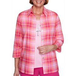 Alfred Dunner Petite Laguna Beach Plaid Duet Top