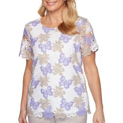 Alfred Dunner Petite Nantucket Butterfly Floral Lace Top