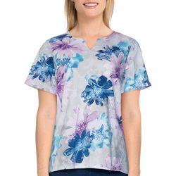 Alfred Dunner Petite Floral Short Sleeve Shirt
