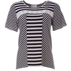 Alfred Dunner Petite America's Cup Striped Eyelet Top